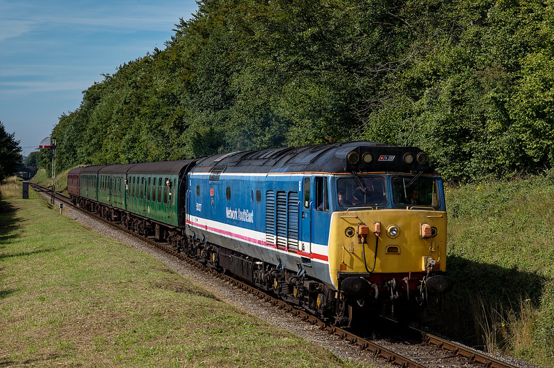 50027 passes the Ropley Down Outer Home signal, with the 10:10 Alresford - Alton, <br /> on 22nd August 2015.