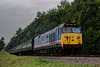 50027 exits the pine trees, with the 11:55 Alresford - Alton, <br /> during the Diesel Gala on 5th September 2014.