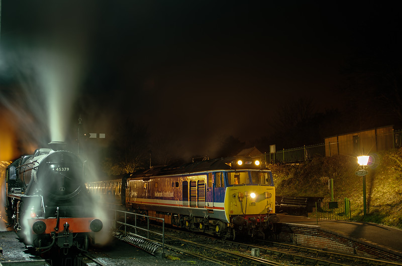 """50027 at Ropley with the ECS for the Real Ale Train, on 3rd November 2012. <br /> Black five 45379 is being prepared to work the """"Watercress Belle"""""""