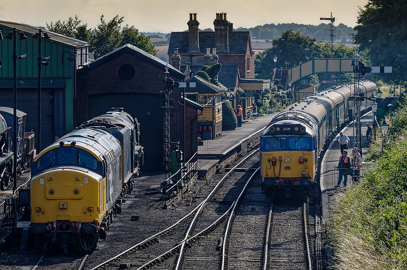 """50027 at Ropley with the ECS for the Real Ale Train, on 3rd August 2013. <br /> 37901 and A1-class 60163 """"Tornado"""" stabled on the pit road."""