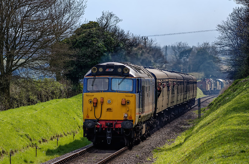 50027 climbs away from Ropley, with the 15:45 Alresford - Alton, <br /> during the Diesel Gala on 27th April 2013.