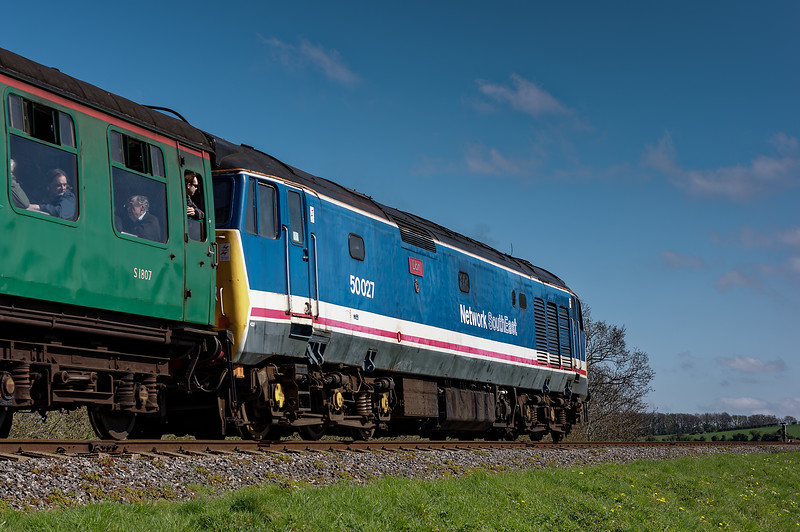 50027 at Stable Lane, with the 10:10 Alresford - Alton, on 18th April 2015.