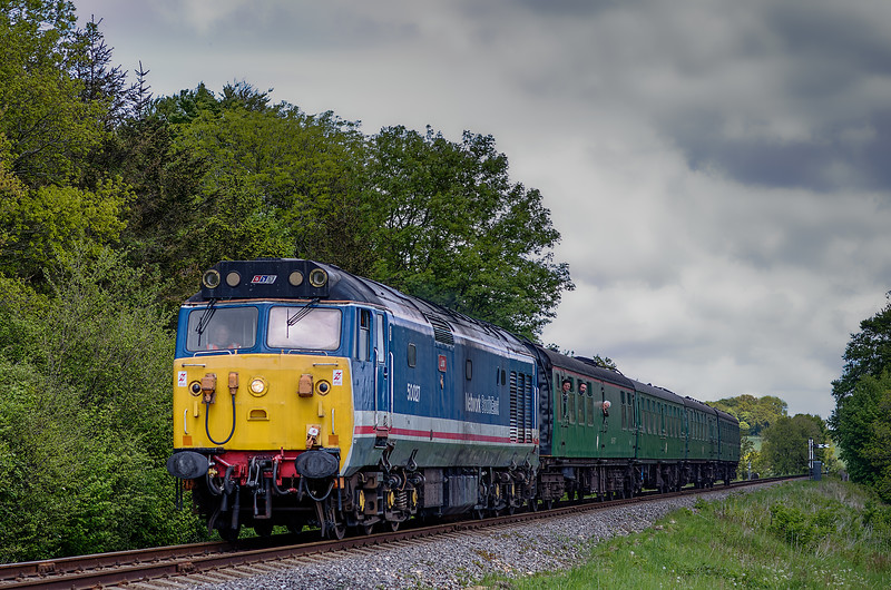 50027 at Stable Lane, with the 13:15 Alton - Alresford, on 25th May 2013.