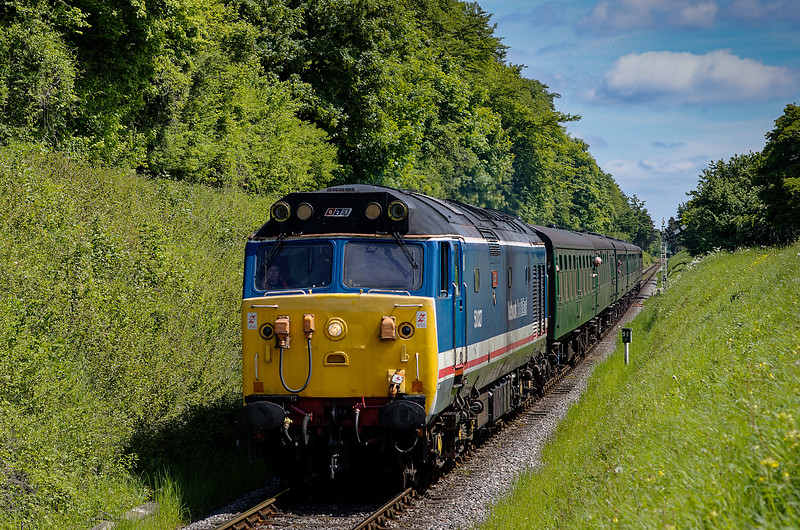 50027 passes the Ropley Down Home signal, with the 11:15 Alton - Alresford, <br /> on 1st June 2013.