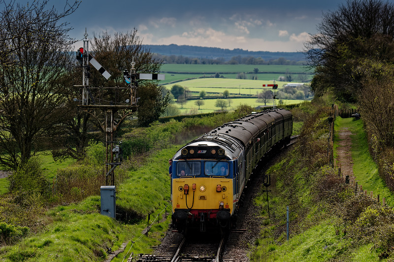 50027 arriving at Ropley, with the 15:42 Alresford - Alton, private hire RAT, <br /> on 30th April 2016.
