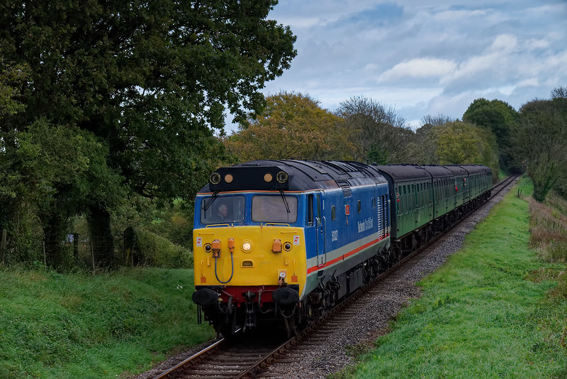 50027 at Bluebell Crossing, with the 14:10 Alton - Alresford, <br /> during the Diesel Gala, on 22nd October 2017.