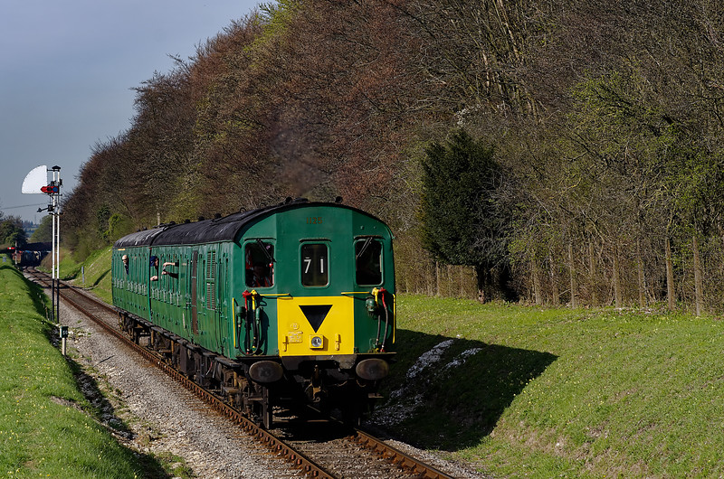 1125 passes Milepost 56, with the 08:45 Alresford - Medstead, during the Diesel Gala <br /> on 28th April 2013.