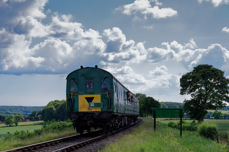 1125 on Wanders Curve, with the 16:15 Alresford - Alton, during the Diesel Gala, <br /> on 3rd June 2018.
