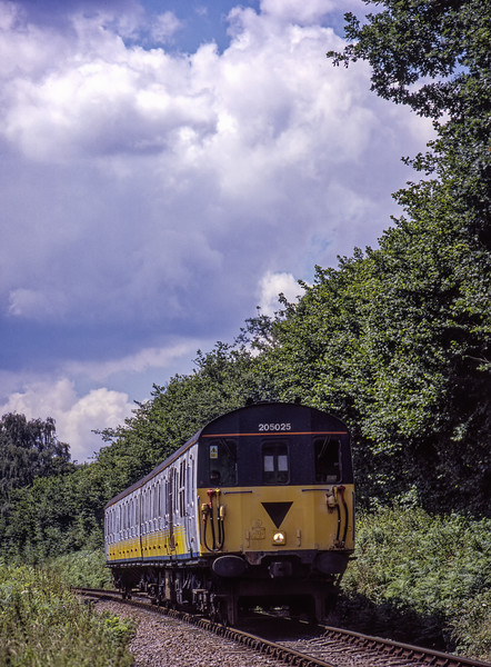 205025 at Reids Copse, with the 12:10 Alresford - Alton, on 6th July 2004. <br /> Scanned Transparency.