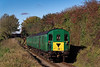 1125 passes Bighton Lane Bridge, with the 11:30 Alresford - Ropley, during Wizard Weekend, on 27th October 2018.