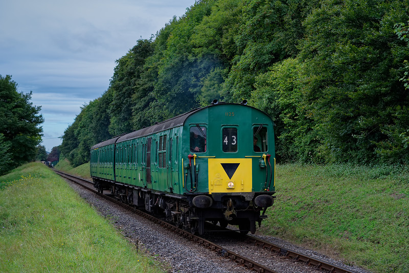 1125 approaching Ropley Down Outer Home signal, with the 10:15 Alresford - Alton, <br /> on 17th September 2016.