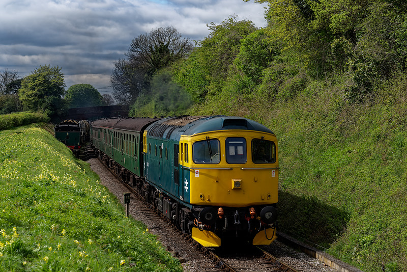 33053 at College Crossing, with the 11:05 Alresford - Alton, during Thomas Week, <br /> on 22nd April 2017. Luckily the loco only had one face, and that was on the other end.
