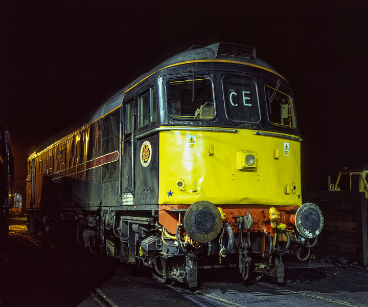 33202 under the yard lights at Ropley, on 11th December 2004.  Scanned Transparency.