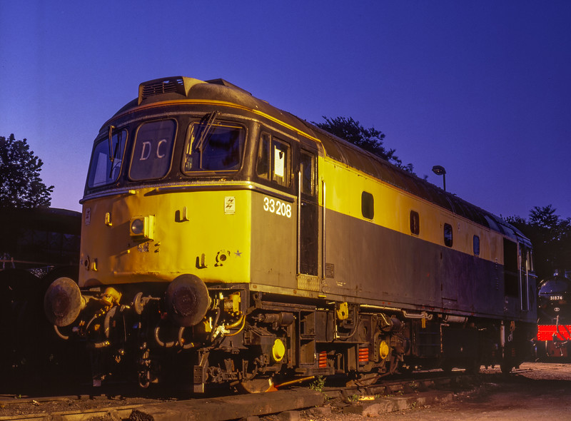 33208 under the lights in Ropley Yard, on 24th May 1997. Scanned Transparency.