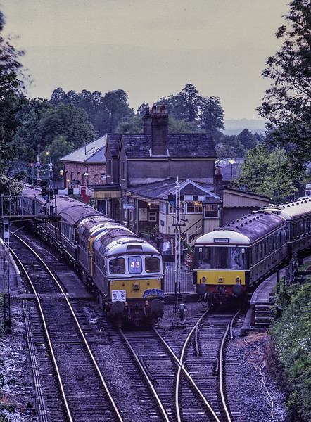 """33208 and 33201 at Alresford, with a special """"Queen of Scots"""" Dining Train, <br /> during the Diesel Gala on 17th May 2003.  Scanned Transparency."""