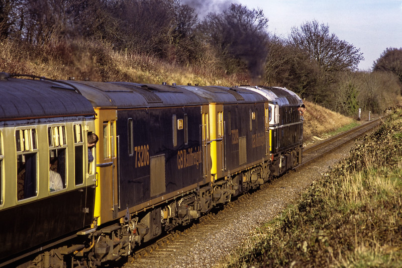 """33208, 73209 and 73206 at Wanders Crossing, with 1Z97, the 15:07 Alresford - Waterloo, <br /> on 9th February 2008. This was the return leg of """"The Oozlum Bird No. 2"""" railtour <br /> ran by UK Railtours. Scanned Transparency."""