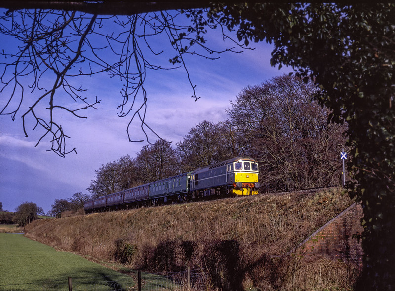 33208 at Stable Lane Bridge, during a Mixed Traction Weekend, on 7th March 1998.  <br /> Scanned Transparency.