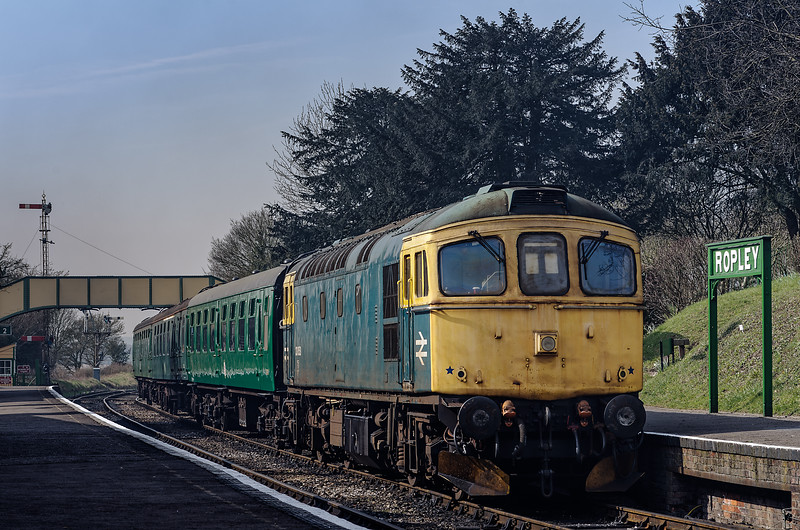 33053 stabled in Ropley Station on empty stock, on 22nd March 2012.