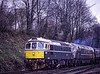 33208 and D821 at Ropley, with the 15:06 Alton - Alresford, <br /> during the Diesel Gala, on 8th April 2001.  Scanned Transparency.
