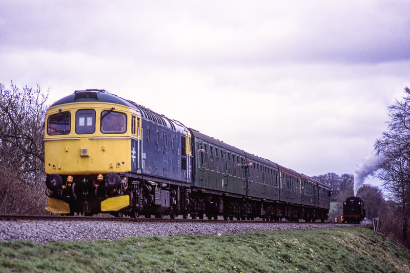 33053 at Stable Lane, taking the train back to Ropley, after Standard Five No. 73096 suffered a major failure, during the Steam Gala on 14th March 2009. Scanned Transparency.