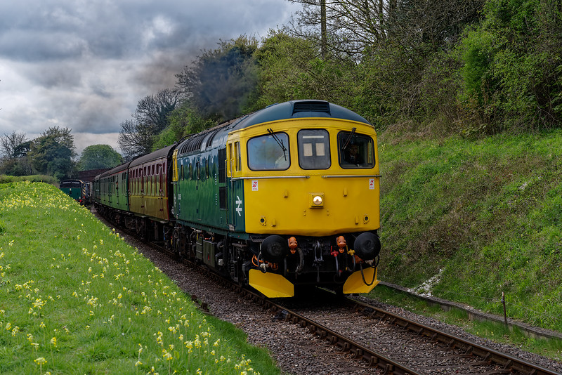 33053 at College Crossing, with the 11:05 Alresford - Alton, during Thomas Week, <br /> on 15th April 2017. Luckily the loco only had one face, and that was on the other end.