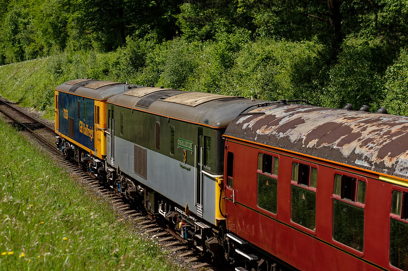 73128 and 73136 bringing up the rear on 1Z83, the return railtour, on 6th June 2015.
