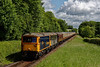 """73136 / 73128 top & tailed with 66752 on 1Z82, the 08:55 Waterloo - Alresford. This was the """"Alpine Sunbeam"""" railtour, organised by UK Railtours. <br /> Shown passing Stable lane on 6th June 2015."""