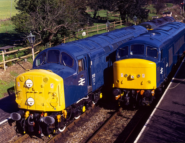 40012, 50007 and 45132 at Ropley on 3rd March 1995, the day before the Diesel Gala. <br /> The 45 had just completed a successful test run after the re-fiiting of the overhauled engine govenor. Scanned Transparency.