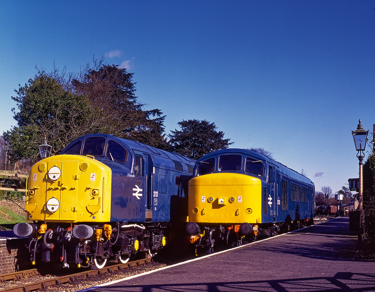 "40012 ""Aureol"" and 45132 at Ropley on 3rd March 1995, the day before the Diesel Gala. <br /> The 45 had just completed a successful test run after the re-fiiting of the overhauled engine govenor. Scanned Transparency."