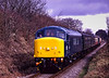 45132 approaches Wanders Crossing, with the 12:05 Alton - Alresford, during the Diesel Gala on 5th March 1994. Scanned Transparency.