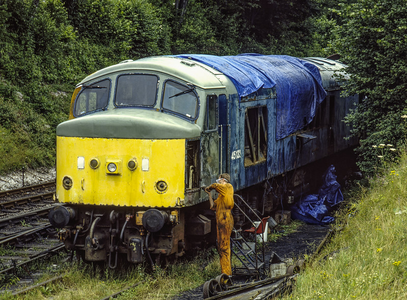 45132 undergoing restoration work at Ropley, on 18th July 1993. Scanned Transparency.