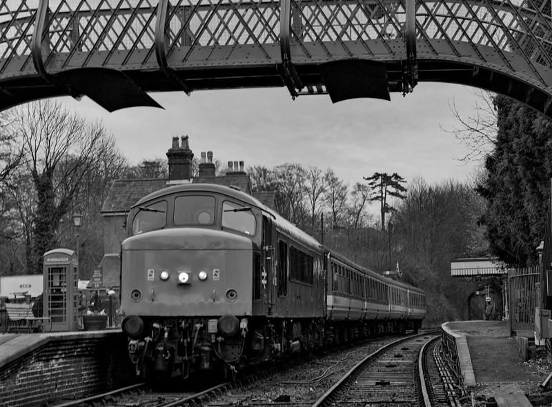 """45132 at Alresford, during the filming of the """"Canterville Ghost"""" on 28th March 1995. Scanned Negative."""