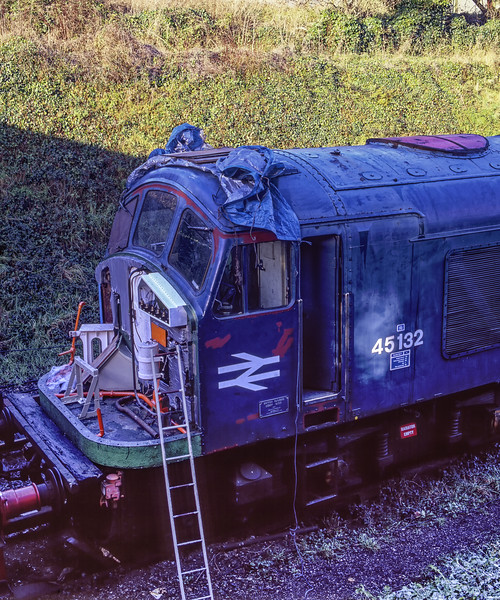 The No. 1 end of 45132 undergoing restoration work at Ropley, on 28th December 2004. <br /> Scanned Transparency.