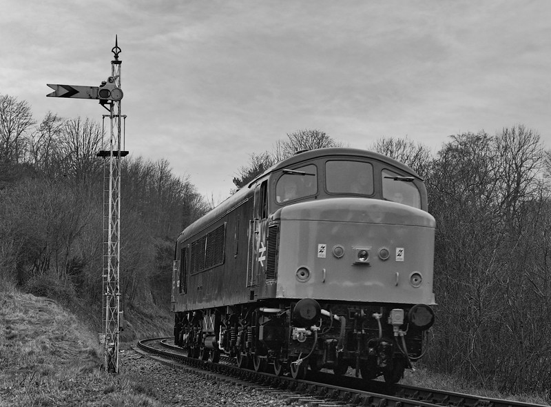 45132 passes the Alresford Distant signal, with a light engine move from Ropley to Alresford, during the Diesel Gala on 5th March 1994. Scanned Negative.