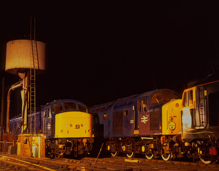 45132, 40012 and 50007 stabled overnight at Ropley, before the Diesel Gala <br /> on 3rd March 1995. Scanned Transparency.
