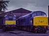 25067 and 45132 in the yard at Ropley, on 25th September 1994. Scanned Transparency.