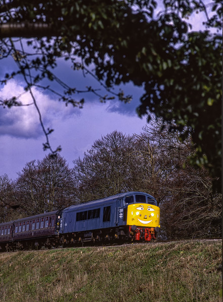 45132 at Stable Lane, running as D199 during Thomas week, 13th April 1998. <br /> Scanned Transparency.