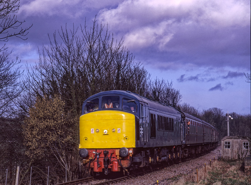 45132 crosses the Bishops Sutton Road Bridge, during the Mixed Traction Weekend, <br /> on 7th March 1998. Scanned Transparency.