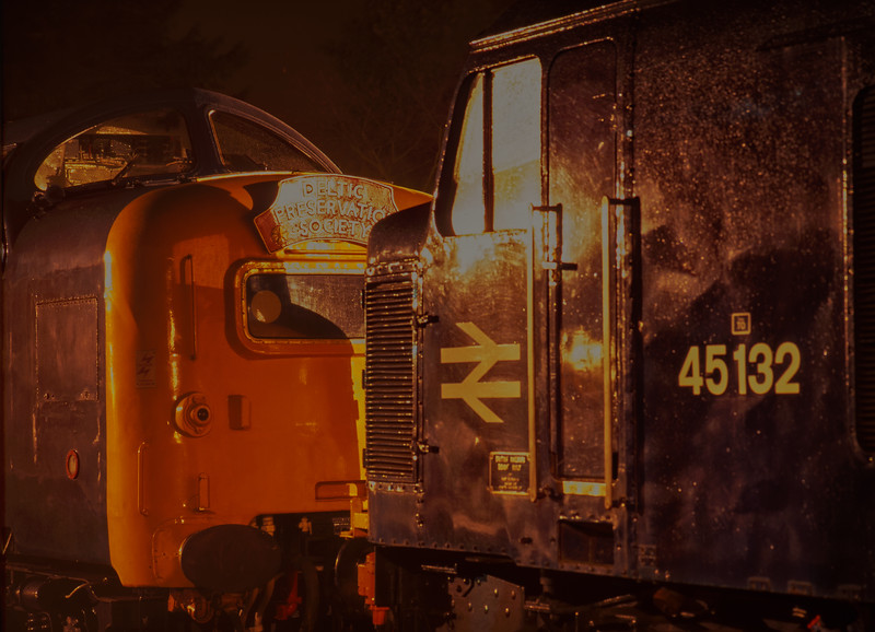 45132 and 55015 stabled overnight at Ropley, during the Diesel Gala on 4th March 1995. <br /> Scanned Transparency.