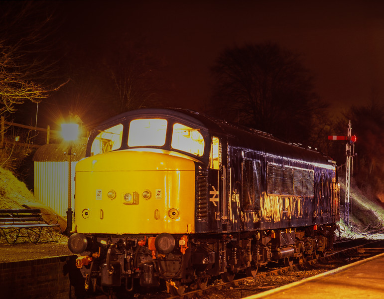 45132 stabled overnight at Ropley, during the Diesel Gala on 4th March 1995. <br /> Scanned Transparency.