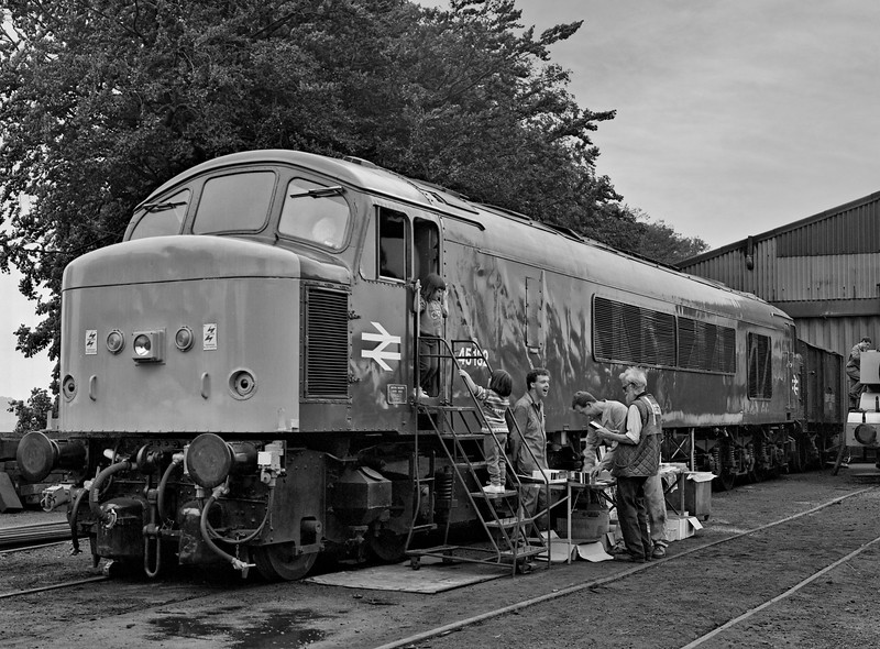 45132 in the yard at Ropley, with the cab open for visits and the sales stand open for business, on 25th September 1994. Scanned Negative.