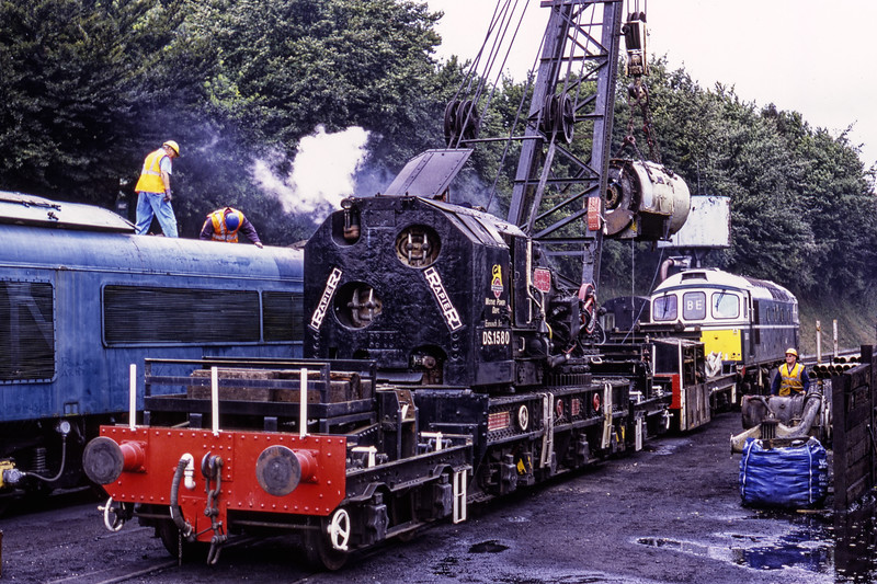 Steam Crane DS.1580, 33208 and 45132 at Ropley during the operation to remove the main generator, on 29th July 2008. Scanned Transparency.