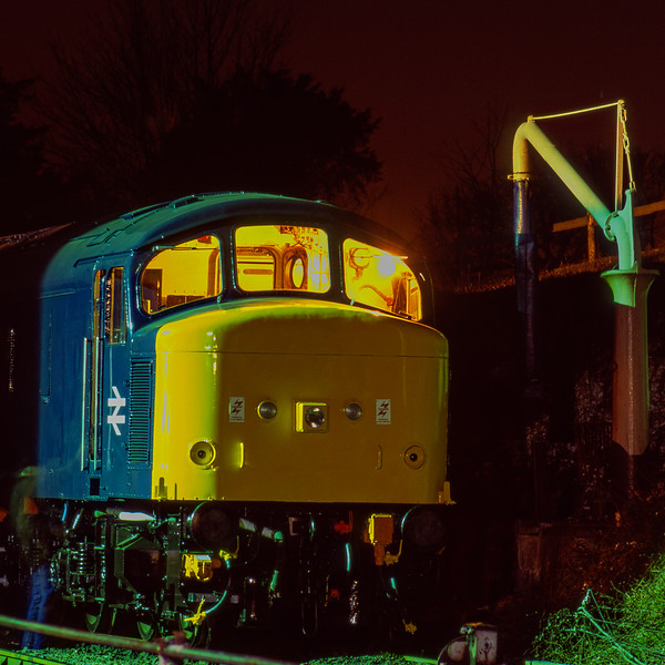 45132 stabled overnight at Ropley, during the Diesel Gala on 5th March 1994. <br /> Scanned Transparency.