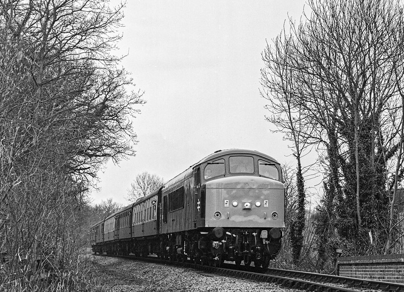 45132 at Brickiln Lane, with the 10:56 Alresford - Alton, during the Diesel Gala <br /> on 6th March 1994. Scanned Negative.