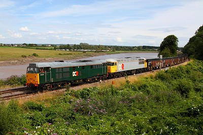 31601 leads team-mate 56311 on the 6Z34 Cardiff Tidal to Stockton (31 as far as Derby) at Thornwell, Chepstow on the 30th July 2012