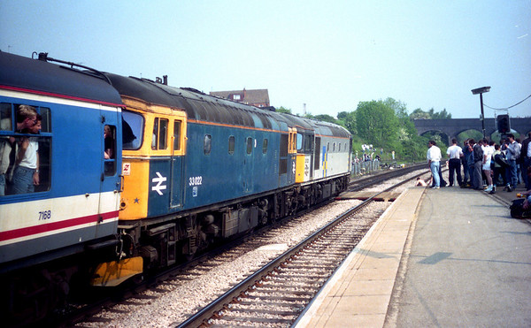 "33022 & 33021 at Wellingborough on Hertfordshire Railtours ""Inter City Diesel Day"". 21.05.89"