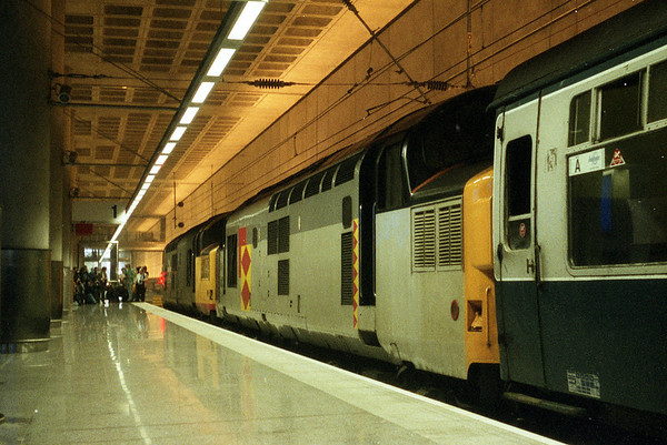 """37009 at Stansted Airport on Pathfinder Tours """"The Nuclear Flyer"""". 30.03.91"""