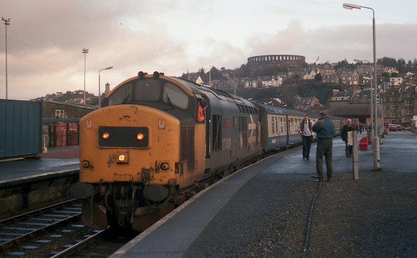 37408 at Oban with 1T28 1250 to Glasgow Queen Street. 21.01.89