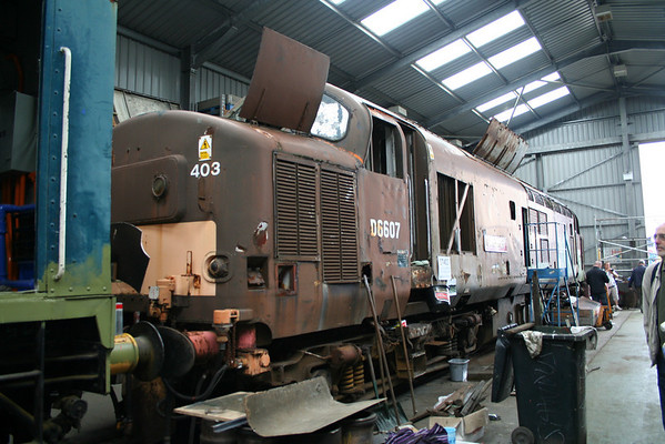 37403 in the shed at Bo'ness awaiting the start of a major overhaul. 30.08.09