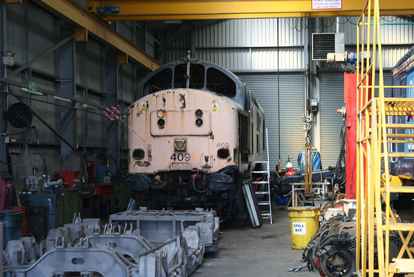 37409 undergoing a 'G' exam inside Harry Needles shed at Barrow Hill. 08.08.09